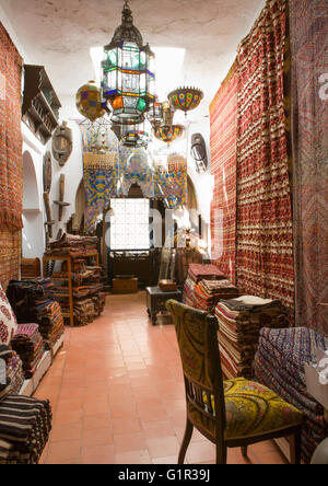 Antiques dealer and souvenirs shop indoors, Tangier, Morocco