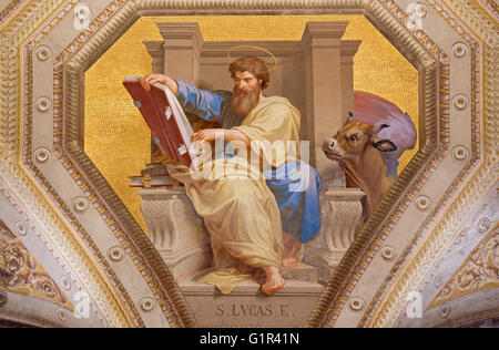 ROME, ITALY - MARCH 9, 2016: The fresco of St. Luke the Evangelist in church Chiesa di Santa Maria in Aquiro by - Stock Photo