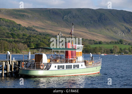 Steamer on Ullswater in the Lake District - Stock Photo