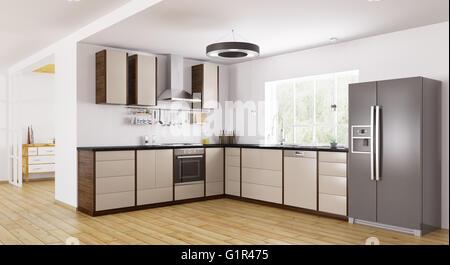 Interior of modern kitchen, fridge,dishwasher,oven 3d rendering - Stock Photo