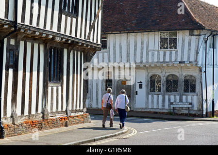 Junction of Water Street and Lady Street in the village of Lavenham, Suffolk, England UK - Stock Photo
