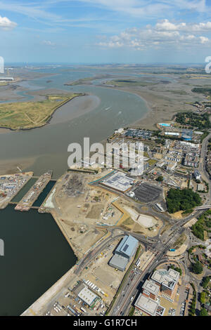 An aerial view looking over Chatham Docks towards the Medway estuary - Stock Photo