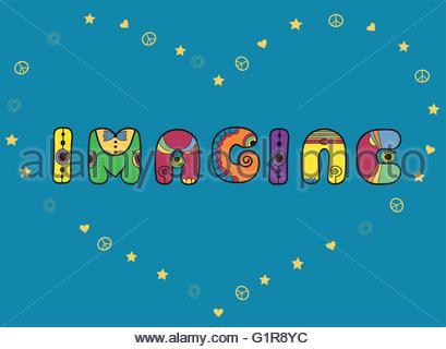 Inscription Imagine Hippie Font Unusual Shape Hippy Letters