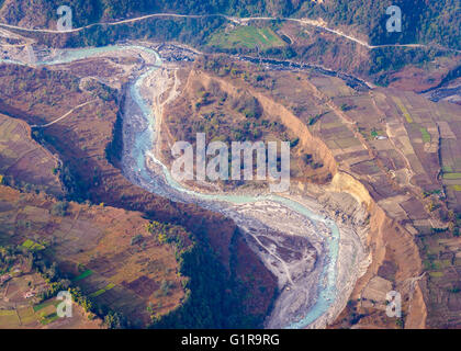 River aerial view in the Pokhara region, Nepal - Stock Photo