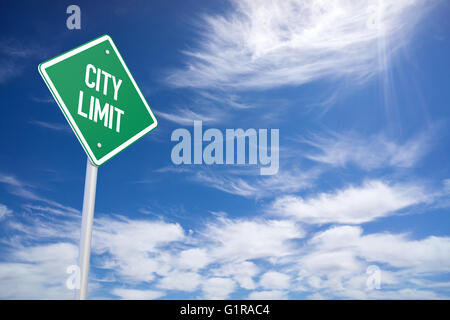 Green City Limit Road Sign Close Up - Stock Photo