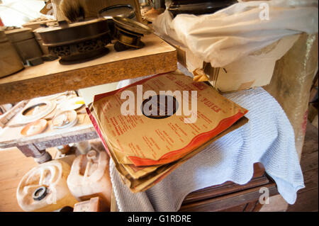 Old 78 rpm Gramophone Records and Record Sleeves - Stock Photo