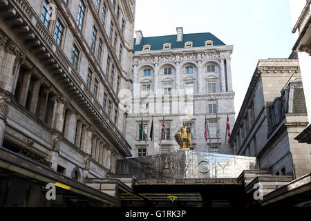 The metallic entrance canopy of the Savoy Hotel in London UK - Stock Photo