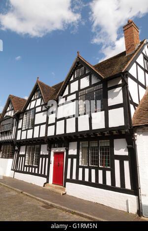 A tudor half timbered black and white medieval house, Mill Street, Warwick, Warwickshire UK - Stock Photo