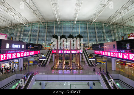GUANGZHOU, CHINA - JAN 22, 2016: interior of Baiyun International Airport departure terminal in China. - Stock Photo