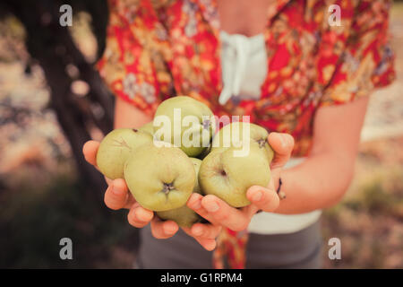 A young woman is standing under a tree and is holding a bunch of apples - Stock Photo