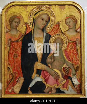 Paolo di Giovanni Fei (c. 1345- c. 1411). Italian painter. Sienese school. Madonna with Child and Two Angels, middle - Stock Photo