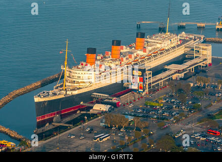 RMS Queen Mary Ocean Liner Hotel, Queen Mary Hotel in Long Beach Harbor, Long Beach, Los Angeles County, California, - Stock Photo