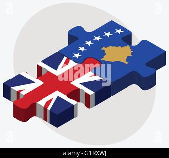 United Kingdom and Kosovo Flags in puzzle isolated on white background - Stock Photo