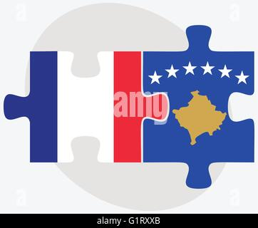 France and Kosovo Flags in puzzle isolated on white background - Stock Photo