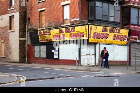 Closed shops, business ceased trading, and properties in decline, Coop Street, Blackpool, Lancashire, UK - Stock Photo