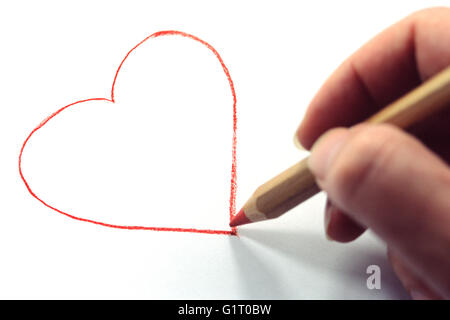 Hand Drawing Red Heart - Stock Photo