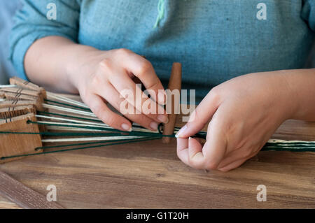 Italy, Lombardy, Historical Reenactment Medieval, Tablet Weaving - Stock Photo