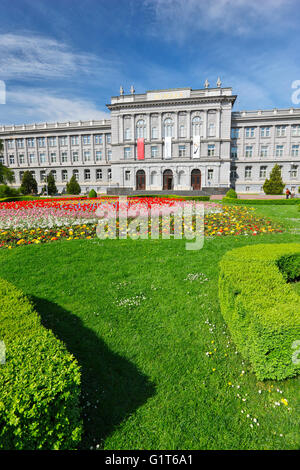 Mimara museum in Zagreb down town with flowers in front - Stock Photo