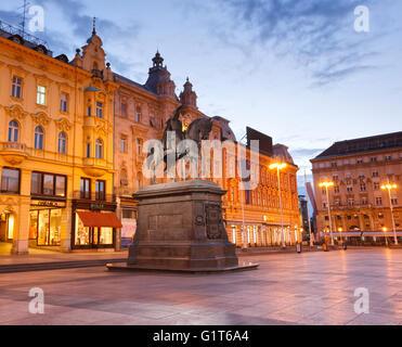 Ban Josip Jelacic statue in Zagreb city on central square - Stock Photo