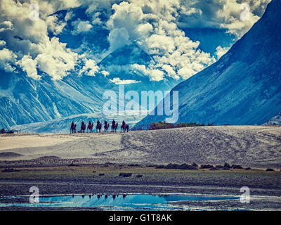 Tourists riding camels in Nubra valley in Himalayas, Ladakh - Stock Photo