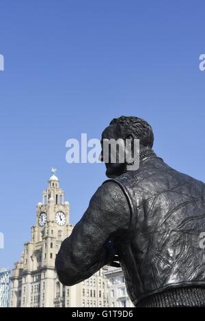Captain FJ Walker statue, Pierhead, Liverpool, UK - Stock Photo