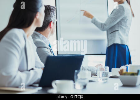 Businesswoman leading meeting at flip chart in conference room - Stock Photo