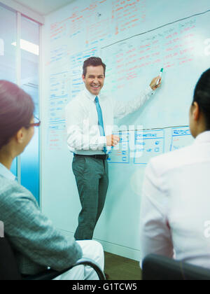 Businessman leading meeting at whiteboard in conference room - Stock Photo