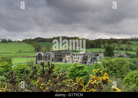 Egglestone Abbey, Barnard Castle, Teesdale, County Durham UK.  Friday 20th May 2016. UK Weather.  It was a dull - Stock Photo