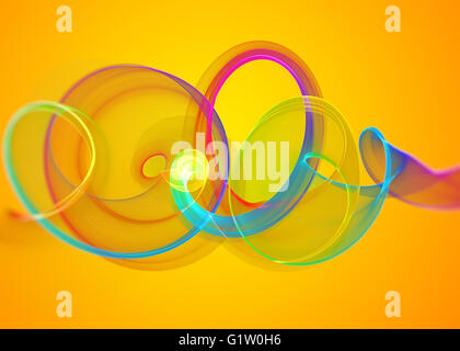 Holiday Glass Transparent Rainbow Curved Spiral And Sircles Over Yellow Orange Abstract Background Horizontal
