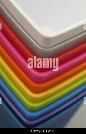 Colorful plastic containers - Stock Photo