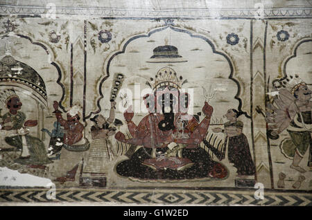 Painting of Lord Ganesha and other mythological paintings on the ceiling of the Lakshmi Narayan Temple, Orchha, - Stock Photo