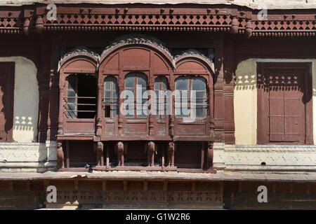 Decorated arched windows with pillars in Indore Palace, Indore, Madhya Pradesh, India - Stock Photo