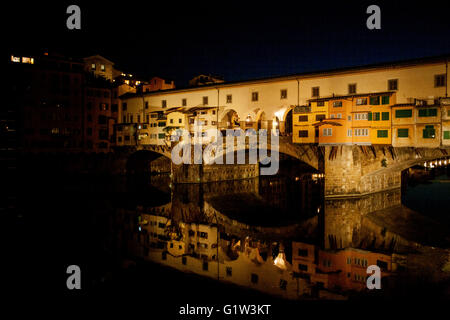 Ponte Vecchio bridge at night, Florence - Stock Photo