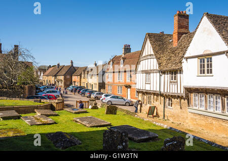 View of Church street from the grave-yard in Lacock village UK - Stock Photo