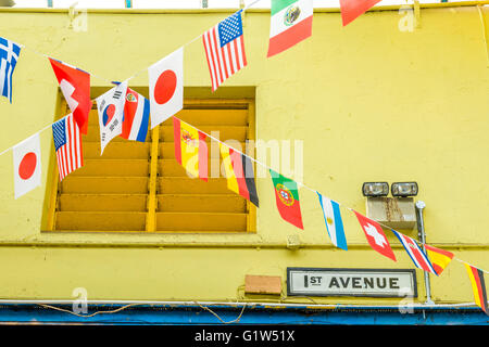 London, United Kingdom - May 14, 2016: Brixton Village and Brixton Station Road Market. Colorful and multicultural - Stock Photo