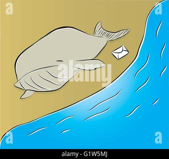 vector illustration of a dead whale on the beach - Stock Photo
