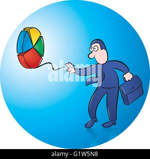 vector illustration of businessman playing with pie chart yo yo on blue background - Stock Photo