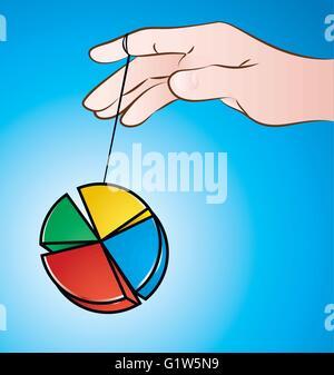 vector illustration of hand playing pie chart yo yo on blue background - Stock Photo
