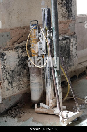 Large drill used for boring holes in concrete structures, similar to those used in recent large robberies. 1st May - Stock Photo