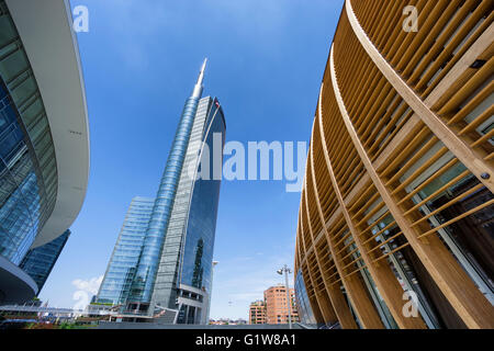 MILAN, ITALY - MAY 15, 2016: Unicredit skyscraper and commercial buildings in the new Gae Aulenti's square, in Milan. - Stock Photo