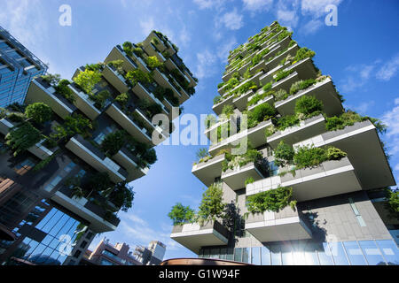 MILAN, ITALY - MAY 15, 2016: Bosco Verticale (Vertical Forest) low view. Designed by Stefano Boeri, sustainable - Stock Photo