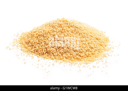 raw couscous closeup isolated white - Stock Photo