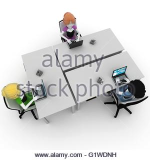 3d girl working in the office isolated on white - Stock Photo