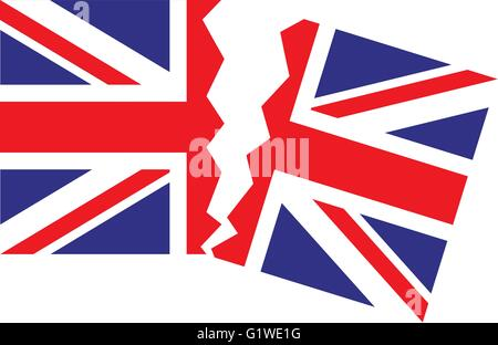 Brexit Flag Great Britain. Union jack tearing in half. - Stock Photo