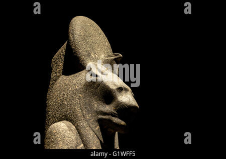 Turin, Italy, March 8 2013: egyptian divinity statue on display at the Turin's Egypt Museum - Stock Photo