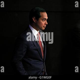 San Antonio Mayor Julian Castro waits backstage before a debate in San Antonio, Texas. - Stock Photo