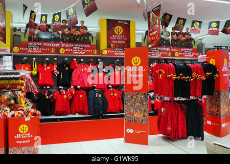 Fan shop department of 'The Red Devils', The Belgian national football team for Euro 2016, in a Carrefour Hypermarket. - Stock Photo