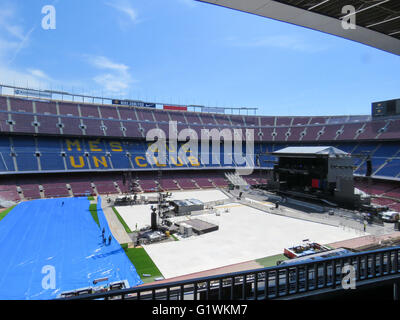 Nou Camp Football Stadium in Barcelona Spain before a rock concert by Bruce Spingsteen. - Stock Photo
