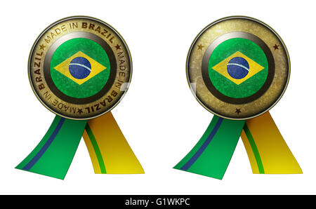 Decoration or metallic gold seal with tape to distinguish original products from Brazil. Set of 2 seals Made in - Stock Photo