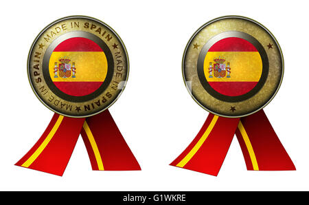 Decoration or metallic gold seal with tape to distinguish original products from Spain. Set of 2 seals Made in message - Stock Photo
